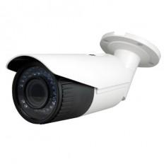Cámara IP Bullet, resolución 4Mpx, ONVIF, PoE,  varifocal motorizada, zoom 4x, visión nocturna 30m, exterior.