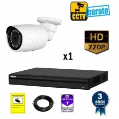 Kit de videovigilancia HD 1 cámara bullet exterior óptica fija 2.8mm más grabador de 4 canales.