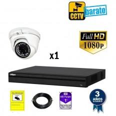Kit de videovigilancia FULL HD 1 cámara domo exterior/interior óptica fija más grabador de 4 canales