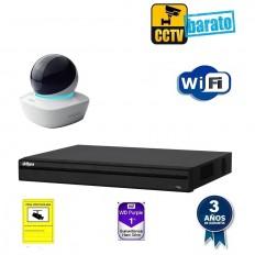 Kit de videovigilancia IP Wifi HD 1 cámara domo motorizada interior óptica fija más grabador NVR de 4 canales