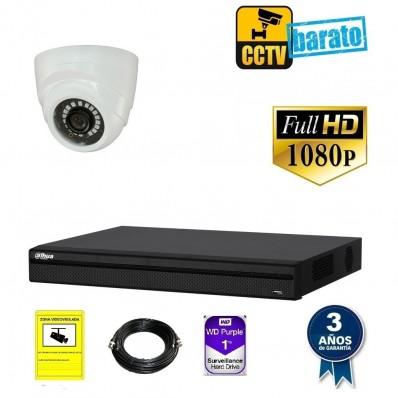 Kit de videovigilancia hd 1 cámara domo interior óptica fija más grabador  de 4 canales.