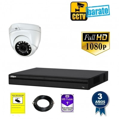 Kit de videovigilancia hd 1 cámara domo exterior óptica fija más grabador de 4 canales.