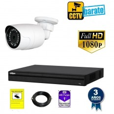 Kit de videovigilancia FULL HD 1 cámara bullet exterior óptica fija más grabador  de 4 canales