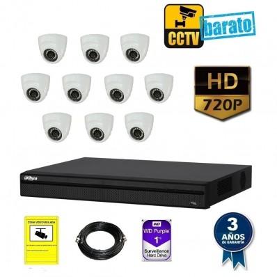 Kit de videovigilancia hd 10 cámaras domo interior óptica fija más grabador  de 16 canales.