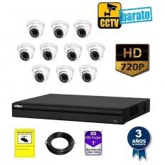 Kit de videovigilancia HD 10 cámaras domo exterior óptica fija más grabador de 16 canales.